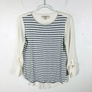 Ann Taylor LOFT Size Small Contrast Striped Blouse